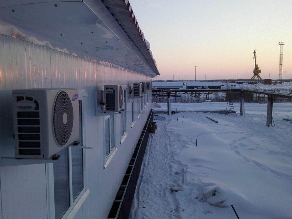 Установка кондиционеров в офисных помещениях быстровозводимого здания, Вологодская область